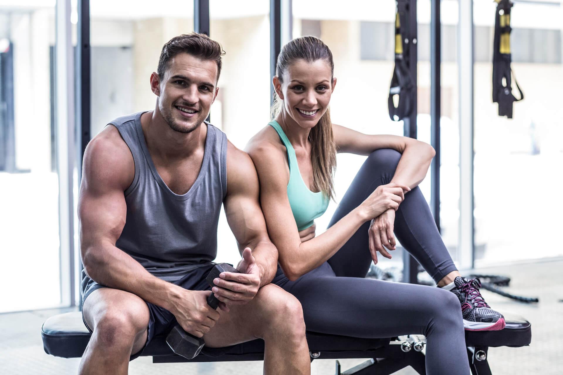 couple smiling at gym Club Maui