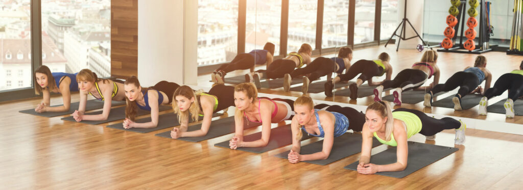 group of teens in fitness class